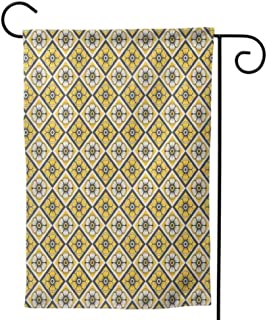 Mannwarehouse Holiday Flag, Outdoors Lawn Decor Double Sided Colorful Design for Home Grey and Yellow Retro Geometric Vintage Design Star Shapes with Dots Warm Taupe Pale Yellow and White
