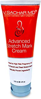 Advanced Stretch Mark Cream by V.SACHAR MD Safe in Pregnancy, non-toxic, Created by High Risk Pregnancy MD, Helps prevent and treat stretch marks