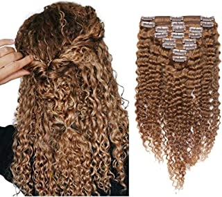 """Clip In Remy Human Hair Extensions Afro Kinky Curly Clip Ins 3B 3C Deep Wavy Brazilian Virgin Hair Pieces For African American Black Women 8Pcs/Lot 18 Clips 18"""" 120g #30 Light Auburn"""