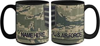 U.S. Air Force (USAF) Staff Sergeant (SSgt) E5 Coffee Cup - Personalized Military Ceramic 15 oz Mug - Customize with Name…