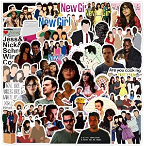 50Pcs New Girl Stickers, Waterproof TV Show Vinyl Stickers for Laptop, Bumper, Water Bottles, Computer, Phone, Hard hat, Car Stickers and Decals, DIY Decoration as Gifts for Kids Girls Teens