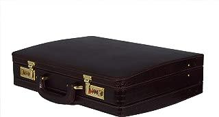 ZINT Men's Genuine Leather Hard Expandable Briefcase Attache Crocodile Print Doctor Lawyer Bag Vintage Style