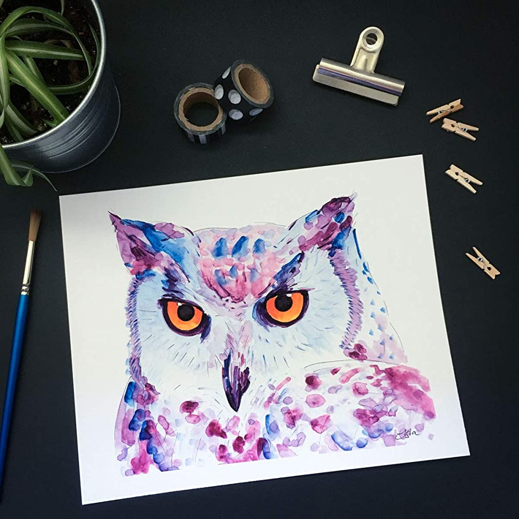 Snowy Owl Watercolor Print, Bird Painting 8 x 10 inches ready to frame, Popular Modern explosive Wall Art, Trending Home Decor Poster