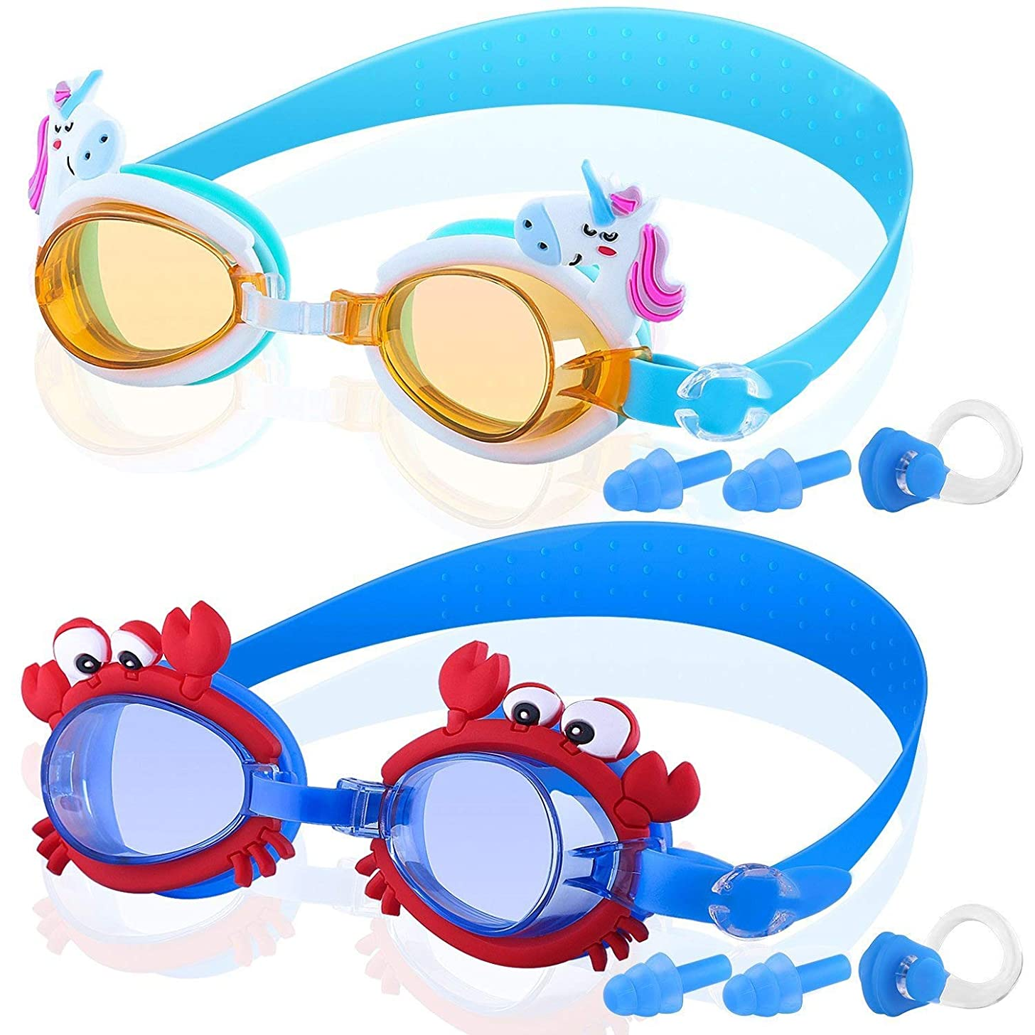 COOLOO Kids Swim Goggles, Pack of 2, Swimming Glasses for Children and Early Teens from 3 to 15 Years Old, Anti-Fog, Waterproof, UV Protection