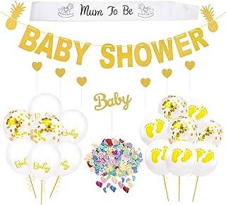 Kit de Decoraciones Fiesta de Bienvenida Bebe Niño Niña - Banner de Baby Shower, 15 piezas de globos (confeti, blanco), marco de mamá, confeti para Decoración de baby shower Neutral o Gemela