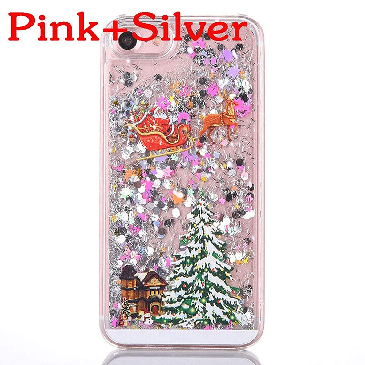 Luxury Glitter Quicksand Christmas Tree Shining Liquid Phone case iPhone 6 6S Plus 7 7 Plus Fashion Bling Dynamic Back Cover,Pink Silver iPhone 6 6S