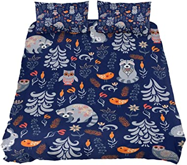 Duvet Cover Extra Long Twin Size, Autumn Forest Leaves Flowers Animals Raccoons Owls Pattern 3 Piece Comforter Cover ¨C Ultra