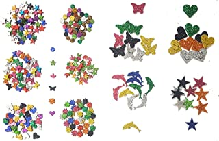 Kochartz Glitter EVA Foam 340-Piece Self Adhesive Stickers for Art and Craft Decoration (Multicolour)