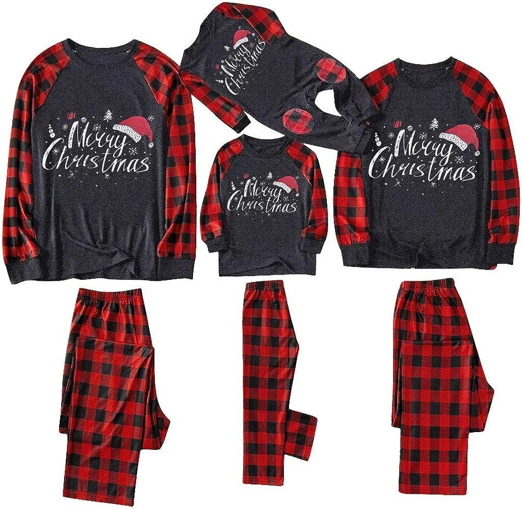 KAIXLIONLY Matching Family Christmas Pajamas Set Christmas Pjs for family Set Red Plaid Top and Long Pants Sleepwear Sets 1