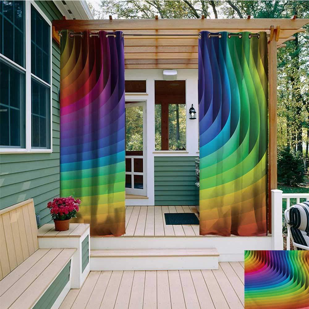 leinuoyi - Juego de Cortinas para Exteriores Coloridas, diseño psicodélico de Ondas de Color, Estilo futurista, Colores radiantes, Rubor de Ondas, Arte gráfico, Tela de 108 x 108 Pulgadas: Amazon.es: Jardín