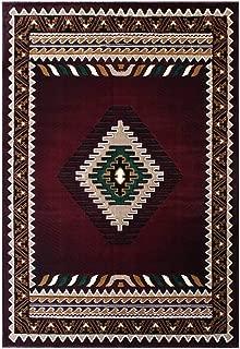 South West Native American Rug Burgundy Design #143 (8 Feet X 10 Feet)