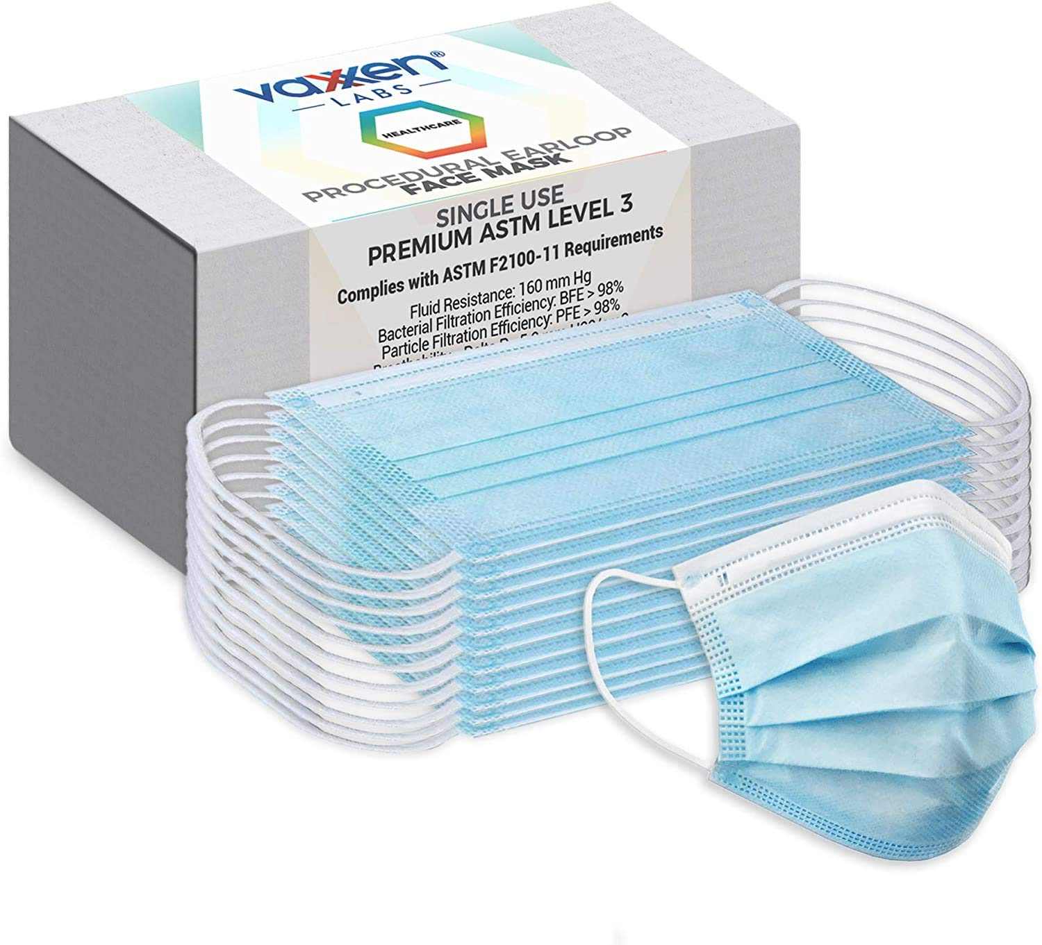 Made in USA ASTM Level 3 Procedural Face Masks Box of 50 - Adult Size L//XL