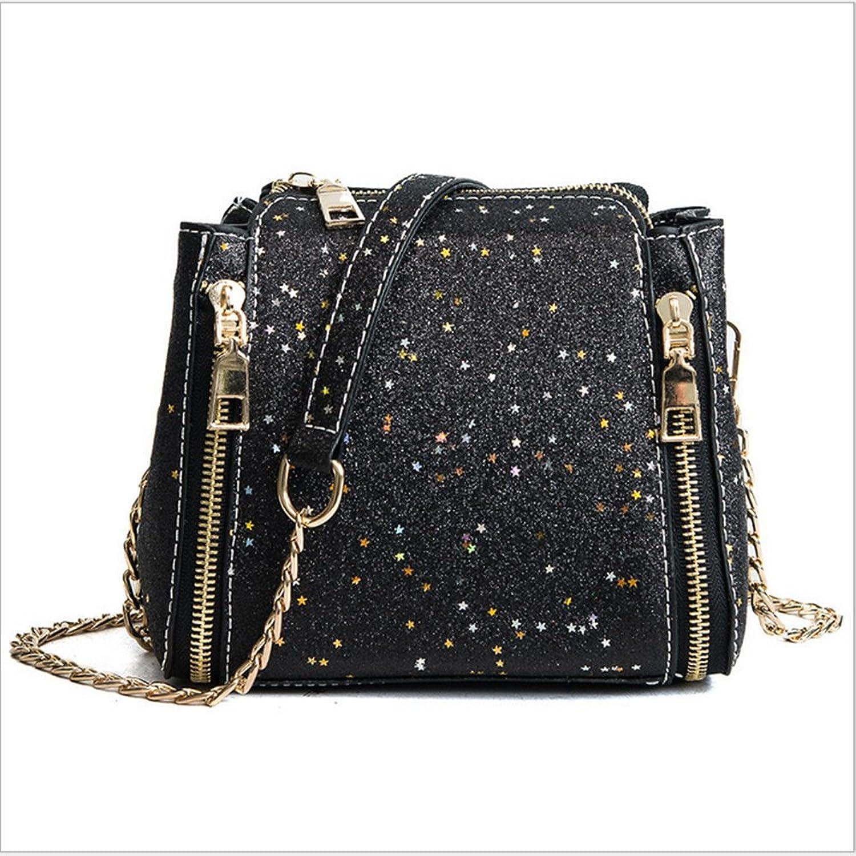Rrock Kette Eimer Tasche Mode Pailletten Pailletten Pailletten Schultertasche Einfache Wilde Diagonal Paket,schwarz B07D3S57SS  Ausgezeichnetes Handwerk 746d89