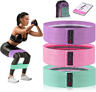 Strength Booty Fabric Bands, Xcellent Global 3 Pcs Non-Slip Fabric Resistance Bands for Butt, Leg & Arm, Circle Workout Hi...