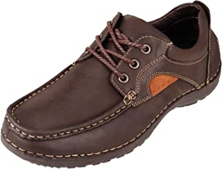 Men's Genuine Leather Lace Up Oxfords Shoes with Rubber Soles Comfort Casual Shoes Breathable Walking Shoes for Men