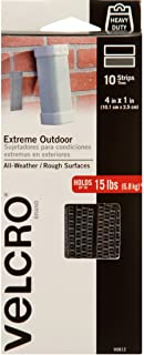 VELCRO Brand Outdoor Heavy Duty Strips | 4 x 1 Inch Pk of 10 | Holds 15 lbs | Titanium..