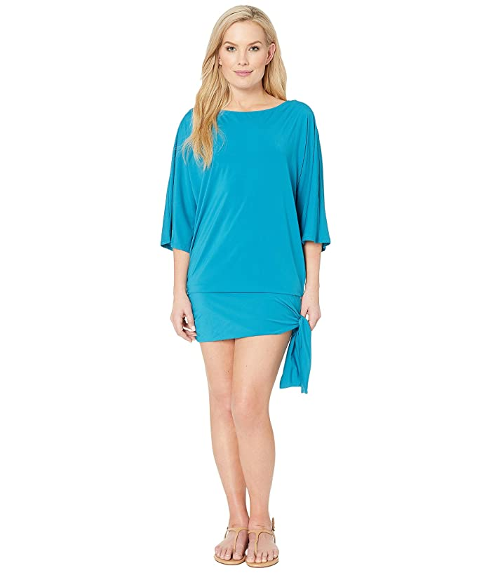 MICHAEL Michael Kors Iconic Solids Side Tie Cover-Up (Lux Teal) Women