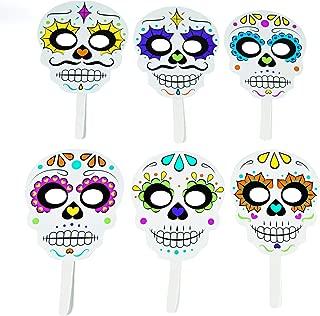 Day of The Dead Handheld Masks (12 pieces) Halloween Party Supplies, Día de los Muertos