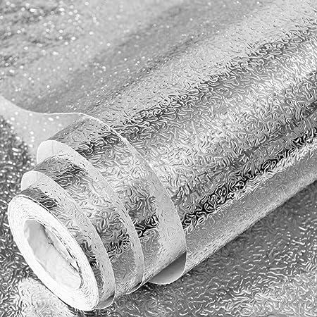 para encimera antigrasa Papel pintado de aluminio para cocina resistente al aceite ZANPOON autoadhesivo impermeable