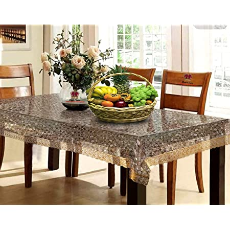 HOMECROWN Waterproof Dining Table Cover 6 Seater 3D Pattern Transparent PVC Plastic Table Cover with Embroidered Golden Lace Border Size 90 X 60 Inches Clear Color