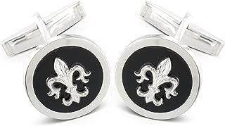 Brooker gemelos Fleur de Lis plata 925er plata dorado