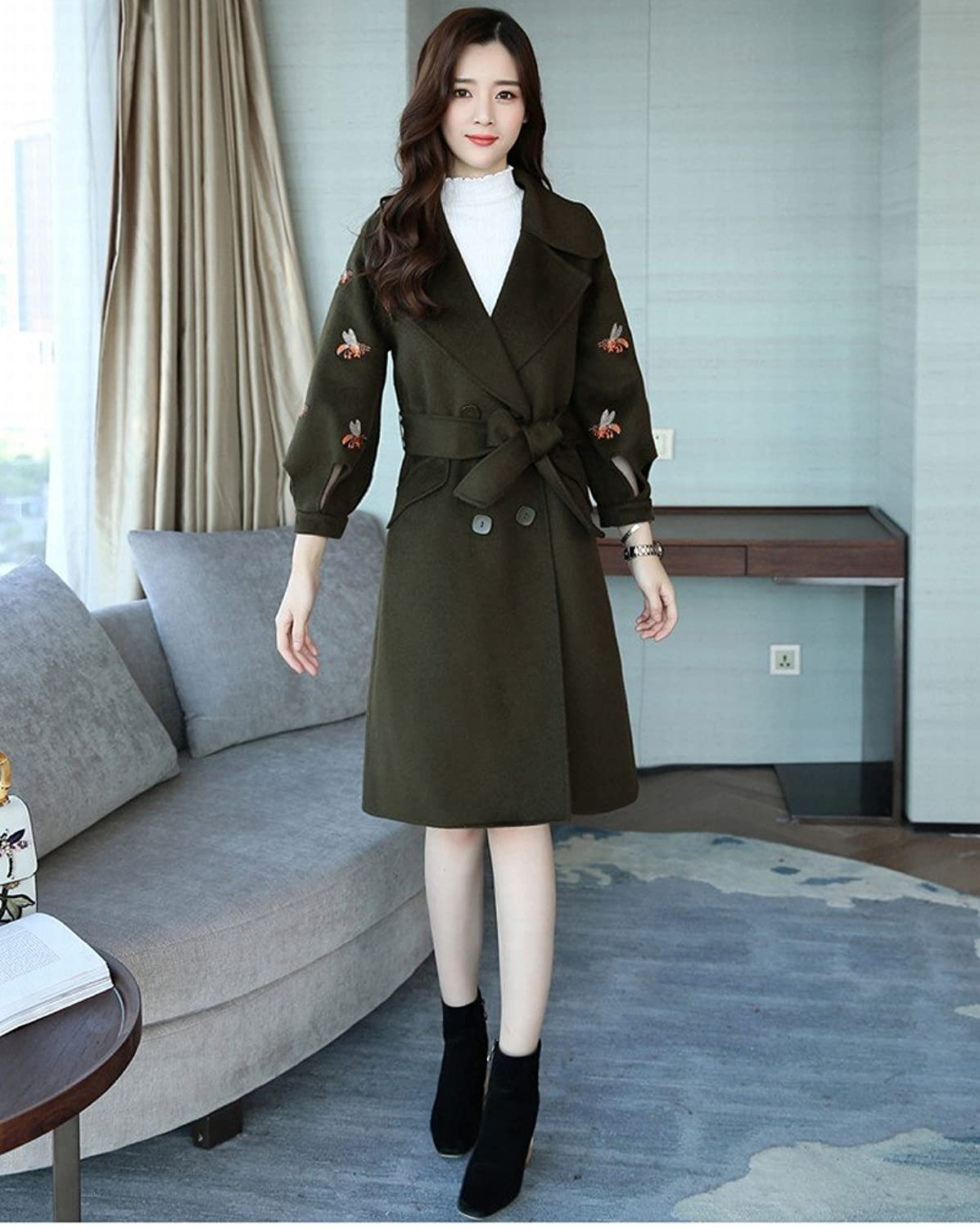 DEED Women's CoatStylish Long Coat Jacket Female Long Sleeve Temperament Elegant Sweet Bow Knot Clothing
