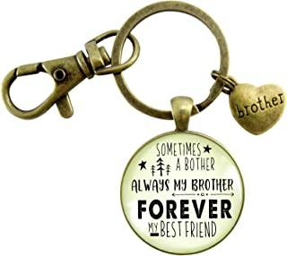 Brother Keychain Sometimes a Bother Always My Brother Forever My Best Friend Men's Funny Gift From Sibling