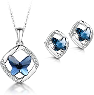 T400 Jewelers Butterfly Crystal Necklace and Earrings Jewelry Sets Women