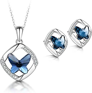 T400 925 Sterling Silver Blue Butterfly Swarovski Crystal Pendant Necklace Dangling Stud Earrings Jewelry Set Birthday Gift for Women Girls