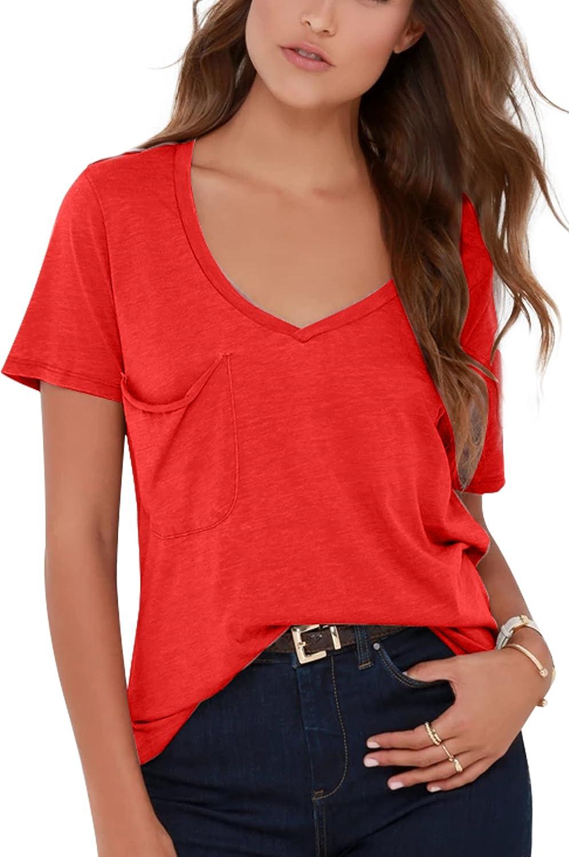 Yidarton Women Tshirt Top V Neck Short Sleeve Shirt Loose Blouse(Short)(rd,s) Red
