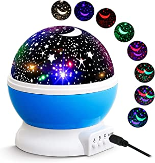 Kids Star Night Light, Roysmart Star Light 360-Degree Rotating Star Projector, Desk Lamp 4 LEDs 8 Colors Changing with USB Cable, Best for Children Baby Bedroom and Party Decorations (Blue)