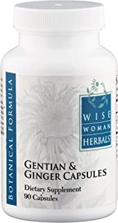 Wise Woman Herbals – Gentian & Ginger Capsules - All-Natural Digestive Function Support Supplement for Normal Healthy Digestion, Natural Aid for Occasional Upset Stomach, Acid Indigestion and Gas