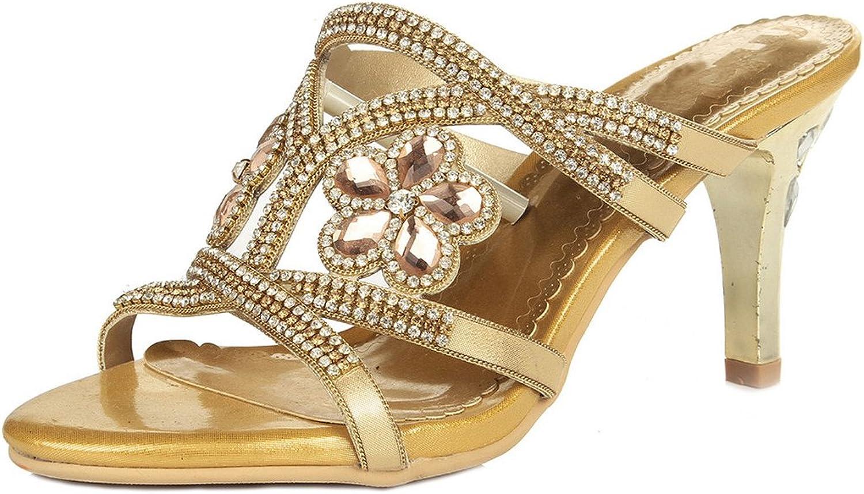 LizForm Women's Rhinestone Strappy Dress Party shoes Crisscrossed Slide Heeled Sandals