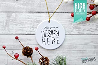 Round Porcelain Christmas Ornament Christmas Mockup Gold Ribbon Add Your own Image Template Digital Download