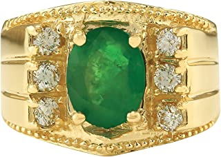 2.87 Carat Natural Green Emerald and Diamond (F-G Color, VS1-VS2 Clarity) 14K Yellow Gold Luxury Statement Ring for Men Exclusively Handcrafted in USA
