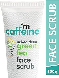 mCaffeine Naked Detox Green Tea Face Scrub | Exfoliation | Vitamin C, Hyaluronic Acid | All Skin | Paraben & SLS Free | 100 g