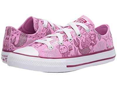 Converse Kids Chuck Taylor(r) All Star(r) Mermaid (Little Kid/Big Kid) (Peony Pink/Rose Maroon/White) Girl