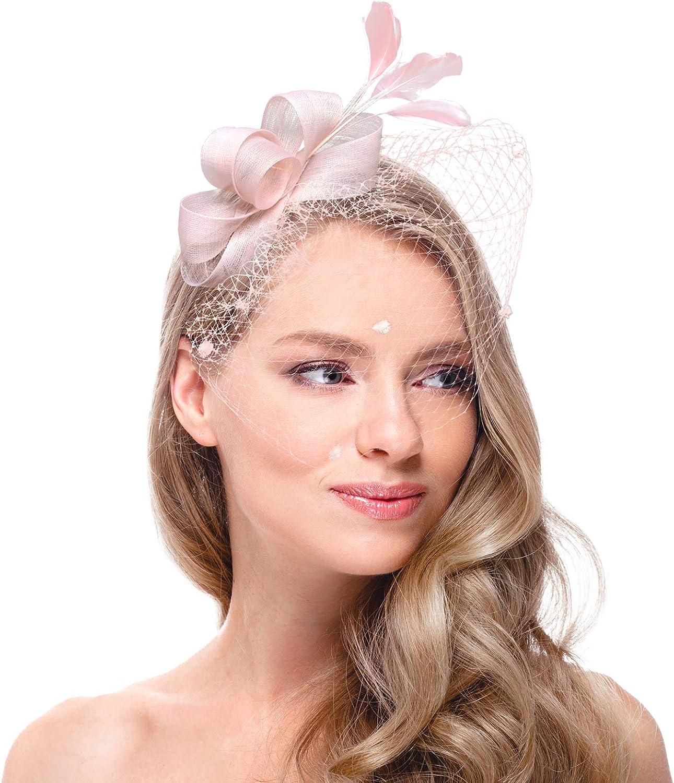 Zivyes Fascinators Hat for Women Tea Party Headband Wedding Cocktail Flower Mesh Feathers Hair Clip