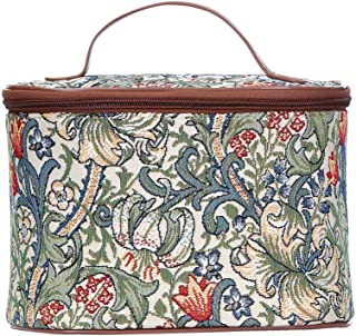 Signare Tapestry Cosmetic Make Up Toiletry Travel Vanity Bag Case in William Morris Golden Lily (TOIL-GLILY)