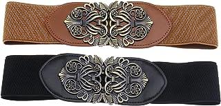 2pcs Vintage Ladies Stretch Waist Belt Cinch Waistband Alloy Polyester Black Brown for Jeans Pants Dresses Coats Jacket Tu...