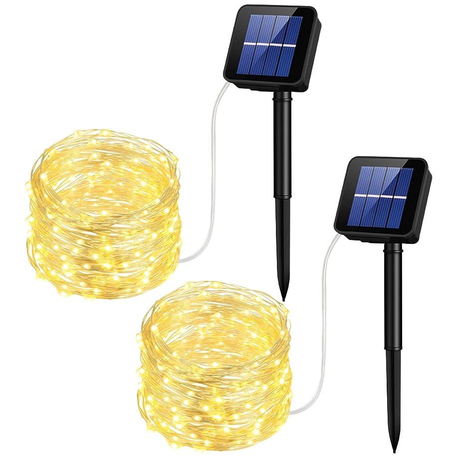 ホームかろうじてローラーMpow ストリングライト ソーラー充電式 100led電球 10m 8点灯モード イルミネーションライト IP64防水 電飾 飾り パーティー アウトドア 結婚式対応 2個