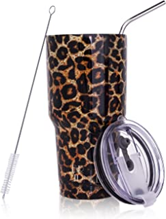 leopard glitter tumbler