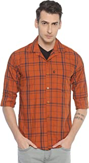 LEVIZO Cotton Checkered Casual Classic Regular Fit Full Sleeves Shirt for Men