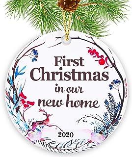 LEISH Ornaments Scene Double-Sided Christmas Ornaments Christmas Decoration Pendant Handmade Ceramic 2020 Christmas Ornament Quarantine