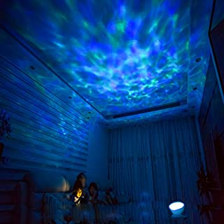 [Wall Adapter Included] Remote Control Ocean Wave LED Projector Night Light With 7 Colorful Light Mode and Built-in Music Player White