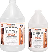"WiseBond DEEP Pour 2"" Thick Single Pour Epoxy Resin for River Tables, Live Edge Slabs, Lathe Turning, Molds and Art Casting, 2 Part 1-1/2 Gallon 2:1 Ratio Kit, Pour Crystal Clear or Easily Tint"