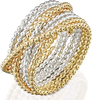 Handmade18K Gold Filled 'Wrapped up' Overlapping Intertwined Entwined Crisscross Crossover Knotted Statement Beaded Wire Wrap Ring