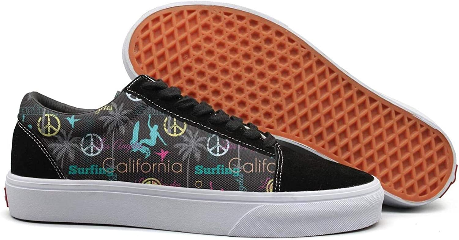 Uieort California Surfing Palm Plants Womens Lace Up Sneakers shoes Lightweight