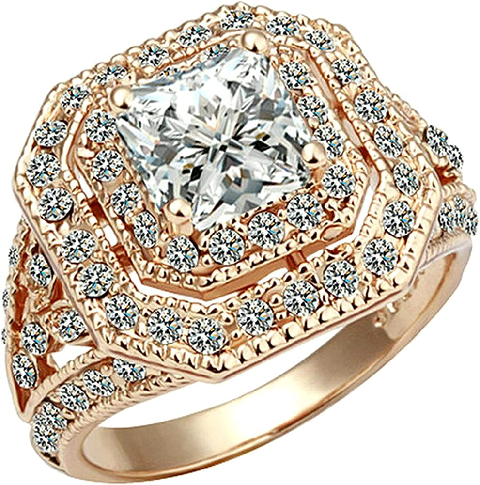 Yoursfs Cocktail Rings for Women OFFer Wedding Zirconia Super beauty product restock quality top G Ring18K Rose
