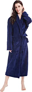 Women's Fleece Bathrobe Long Shawl Collar Plush Robe